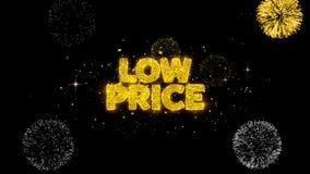 Partículas douradas piscar do texto do preço baixo com exposição dourada dos fogos de artifício