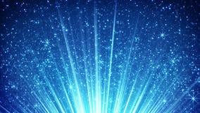 Partículas efervescentes do voo nos raios claros azuis 4k loopable (4096x2304) video estoque