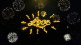 Partículas escritas amor feliz del oro del día de tarjeta del día de San Valentín que estallan la exhibición de los fuegos artifi ilustración del vector