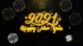 Partículas escritas del oro del Año Nuevo 2021 que estallan la exhibición de los fuegos artificiales