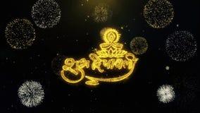 Partículas escritas diwali del oro de Shubh que estallan la exhibición de los fuegos artificiales
