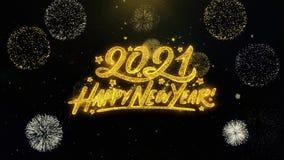 Partículas escritas do ouro do ano novo feliz 2021 que explodem a exposição dos fogos de artifício