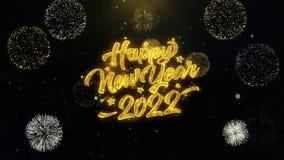 Partículas escritas do ouro do ano novo 2022 que explodem a exposição dos fogos de artifício