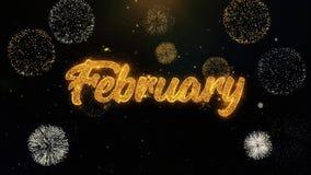 Partículas escritas febrero del oro que estallan la exhibición de los fuegos artificiales