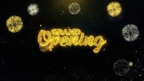 Partículas escritas gran inauguración del oro que estallan la exhibición 1 de los fuegos artificiales