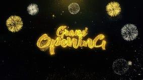 Partículas escritas gran inauguración del oro que estallan la exhibición de los fuegos artificiales