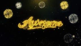 Partículas escritas impressionantes do ouro que explodem a exposição dos fogos de artifício