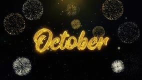 Partículas escritas octubre del oro que estallan la exhibición de los fuegos artificiales