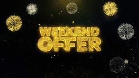 Partículas escritas oferta del oro del fin de semana que estallan la exhibición de los fuegos artificiales