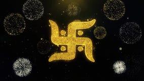 Partículas escritas símbolo do ouro da suástica que explodem a exposição dos fogos de artifício