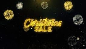 Partículas escritas venta del oro de la Navidad que estallan la exhibición de los fuegos artificiales