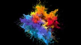 Partículas flúidas de la tinta del arco iris de la explosión de color de la explosión multicolora iridiscente del polvo libre illustration