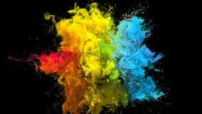 Partículas flúidas de la tinta del arco iris de la explosión de color de la explosión multicolora iridiscente del polvo ilustración del vector