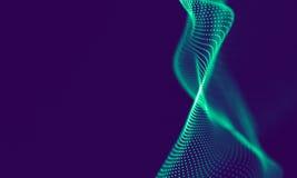 Partículas geométricas azuis abstratas no fundo roxo Estrutura da conexão Fundo do azul da ciência futuristic ilustração royalty free