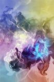 Partículas hermosas en el fondo coloreado, ejemplo 3d Imagen de archivo