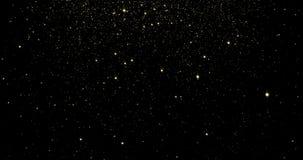 Partículas ligeras que fluyen del oro y estrellas chispeantes con rielar efecto colocado ilustración del vector