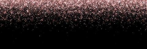 Partículas que caen del oro de Rose en el fondo negro, bandera ancha Vector stock de ilustración