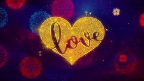 Partículas románticas de la chispa del texto del corazón del amor de las tarjetas del día de San Valentín en los fuegos artificia ilustración del vector