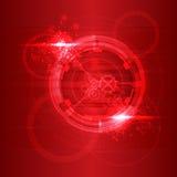 Partículas vermelhas que fluem para no fundo escuro Ilustração do vetor Impacto abstrato das moléculas Estrutura da conexão ilustração stock