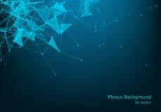 Partículas y líneas iluminadas vector abstracto Efecto del plexo con colores del espectro Ilustración futurista del vector poligo ilustración del vector