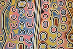 Part of a modern abstract Aboriginal artwork, Australia. Part of a colourful abstract Aboriginal artwork from Australia in the Aboriginal Museum in Utrecht stock image