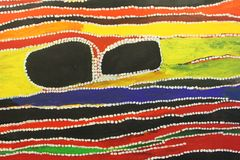 Part of modern abstract Aboriginal crafts, Australia. Part of a colourful abstract  Australian Aboriginal artwork with a dotted technique. In the Aboriginal Stock Photos