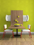 Part of the abstract dining-room. 3D illustration Royalty Free Stock Photo