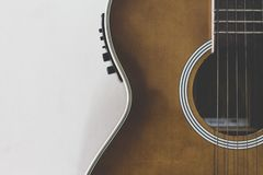 Part of acoustic guitar. stock images