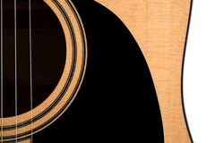 Part of an acoustic guitar, deck, on a white isolated background. Horizontal frame Stock Photos