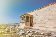 Part of acropolis in athens. In sunlight Royalty Free Stock Photography