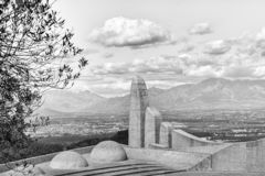Part of the Afrikaans Language Monument with Paarl visible. Monochrome royalty free stock image
