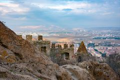 View to the city of Afyonkarahisar from castle. Part of the Afyon city and Afyon castle ruins, during the cloudy day Stock Photography