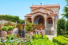 Part of Agios Stefanos St Stefan Monastery on Meteora cliff, Greece Royalty Free Stock Photos