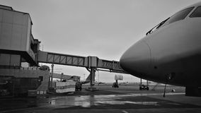 Part of the airframe. The element of the fuselage of the passenger commercial aircraft on the airfield Royalty Free Stock Photography