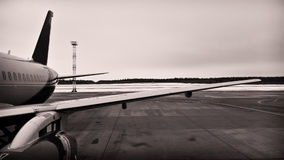Part of the airframe. The element of the fuselage of the passenger commercial aircraft on the airfield Stock Images