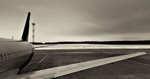 Part of the airframe. The element of the fuselage of the passenger commercial aircraft on the airfield Stock Photos