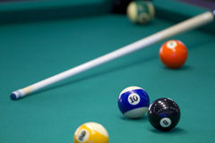 Part of the American pool table. With balls and cue Stock Photo