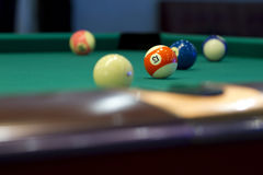 Part of the American pool table with balls. View from the middle pocket Stock Images