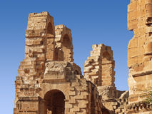 Part of amphitheater ruins. Part of amphitheater coliseum ruins in El Djem, Tunisia royalty free stock image