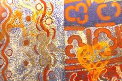 Part of an abstract ancient Aboriginal artwork, Australia. Part of an ancient painting of the Aborigines in Australia, South Australian Museum in Adelaide. They Stock Photo