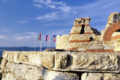 Part of ancient city wall in the city of Nesebar in Bulgaria Stock Image