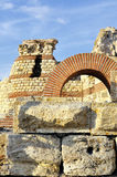 Part of ancient city wall in the city of Nesebar in Bulgaria Royalty Free Stock Photography