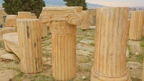 Part of ancient marble column with sophisticated capital, cultural heritage. Stock footage stock footage
