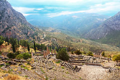Part of ancient Theater and ruins in in Delphi, Gree. Part of ancient Theater and ruins after the rain in Delphi, Greece Royalty Free Stock Photography