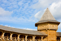 Part of ancient wooden fortification Stock Photo
