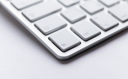Part angle of light keyboard of laptop Stock Photography