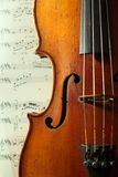 Part of an antique violin. With strings Royalty Free Stock Photos