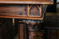 Part of antique wooden table Stock Images