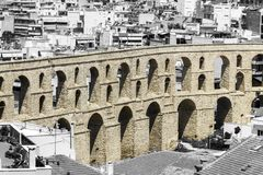 Part of aqueduct in the Kavala, Greece royalty free stock image
