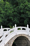 Part of arch bridge with plant background. Part of white arch bridge with green tree background in garden, shown as color and shape comparing and oriental style Royalty Free Stock Image
